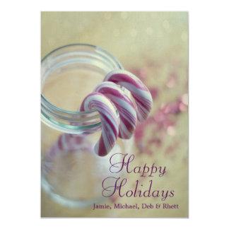 Christmas candy canes in glass jar 13 cm x 18 cm invitation card