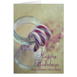 Christmas candy canes in glass jar card