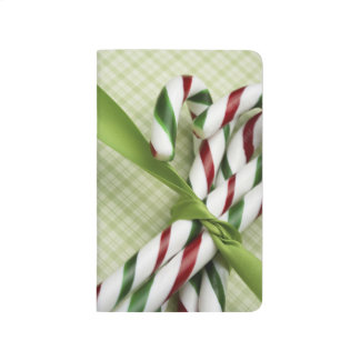 Christmas Candy Canes Red Green Stripes Ribbons Journal