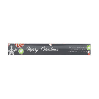 Christmas Candy & Snow Holiday Wishes DIY Wrap Around Label