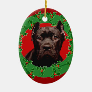 Christmas Cane Corso dog Ceramic Ornament