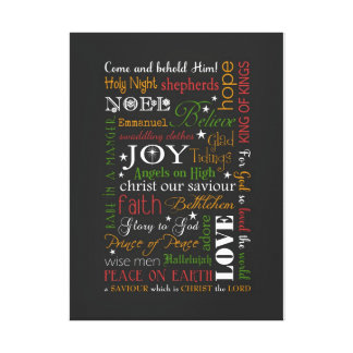 Christmas Canvas - Typography Subway Art Gallery Wrapped Canvas