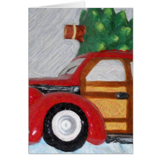 christmas car pencil greeting card