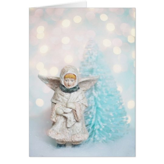 Christmas card, angel and bottle brush tree card