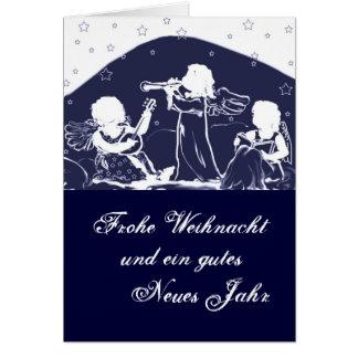 Christmas card: Angels make music blue Card
