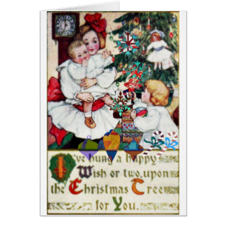 Christmas Card Antique Christmas Card Girls Dolls