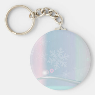 Christmas Card Backdrop Basic Round Button Key Ring