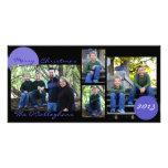 Christmas Card - Black with Light Blue/Purple Photo Cards