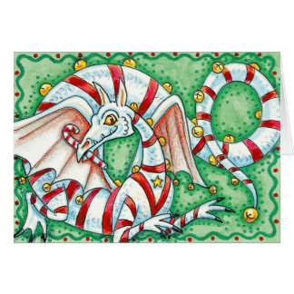 Christmas Card:  Candy Cane Christmas Dragon Greeting Card