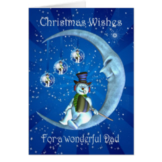 Christmas card, Dad Christmas, Snowman on the Moon Card