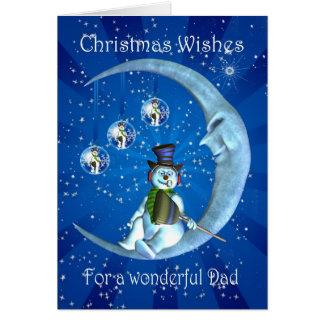 Christmas card, Dad Christmas, Snowman on the Moon Greeting Card