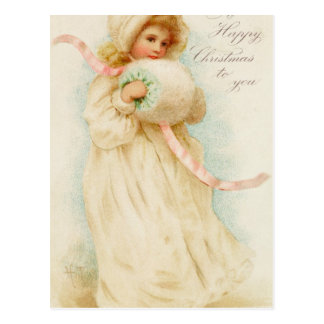 Christmas card depicting a girl with a muff