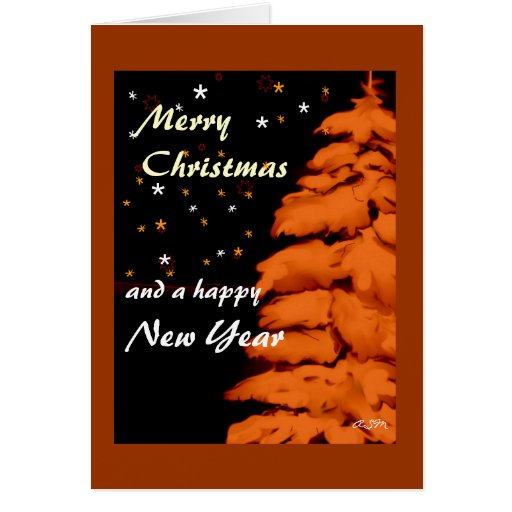 christmas card - fir + stars