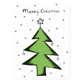 Christmas card fir tree, postcard
