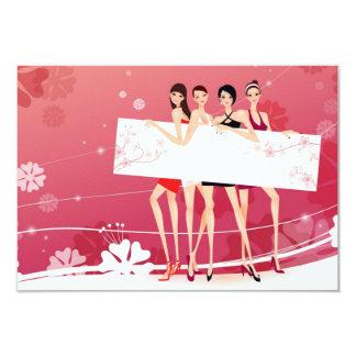 "Christmas card for friends ""Girls "" 9 Cm X 13 Cm Invitation Card"