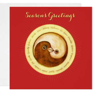 Christmas card gold YinYang doves Peace & Harmony