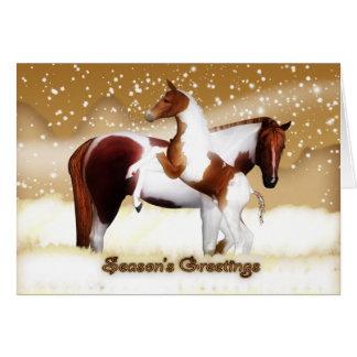 Christmas Card - Happy Holidays - Horses, Foal & M