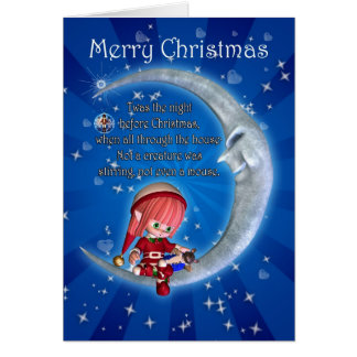 Christmas card, night before Christmas with elf an Greeting Card