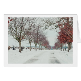 Christmas card of Cotswold snow scene