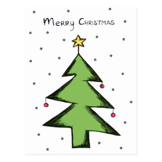 Christmas card, postcard Christmas, fir tree