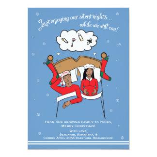 Christmas Card Pregnancy Announcement- African Am 13 Cm X 18 Cm Invitation Card