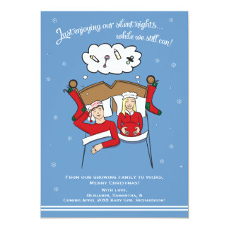 "Christmas Card Pregnancy Announcement - Blonde 5"" X 7"" Invitation Card"