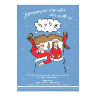 "Christmas Card Pregnancy Announcement- Brunette 5"" X 7"" Invitation Card"