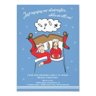 Christmas Card Pregnancy Card- Brunette 4x6 11 Cm X 16 Cm Invitation Card