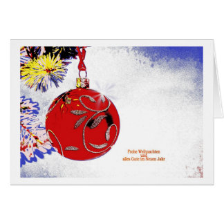 Christmas card red Christmas tree ball PopArt