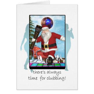 Christmas Card, Santa Night Clubbing Greeting Card