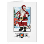 Christmas Card, Santa Playing Archery Greeting Card