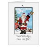 Christmas Card, Santa Playing Golf Greeting Card