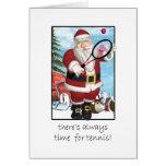 Christmas Card, Santa Playing Tennis Greeting Card