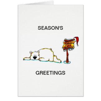 CHRISTMAS CARD - SLEEPING POLAR BEAR AT NORTH POLE