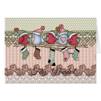 Christmas card small birds and socks