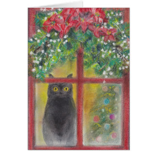 Christmas Card  The Cat at the Window