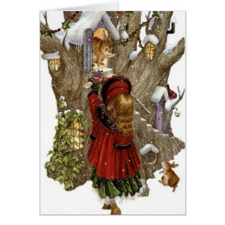 Christmas card w/ friendship poem, girl & animals