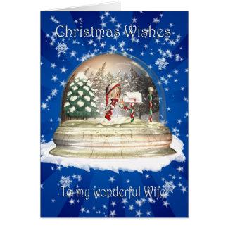 Christmas card, Wife Christmas, Elf in a snow glob Greeting Card