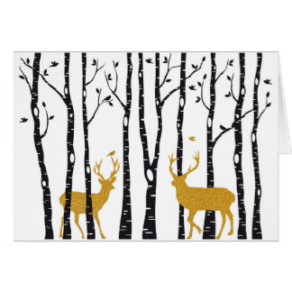 Christmas card wit reindeer and birch trees