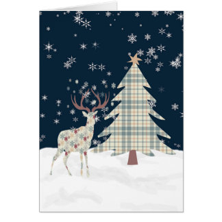 Christmas Card with a Designer Deer & Tree