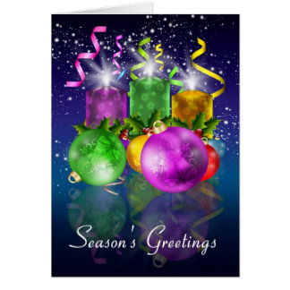 Christmas Card With Baubles And Candles