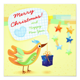 "Christmas card with bird and gift 5.25"" square invitation card"