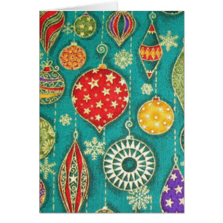 Christmas card with colorful classic ornaments