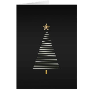 Christmas card with gold tree on black background