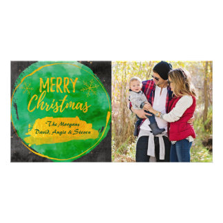 Christmas card with photo green, gold watercolor photo cards