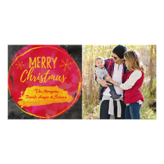 Christmas card with photo red, gold watercolor custom photo card