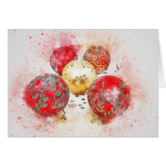 Christmas Card with Red and Gold Ornaments