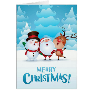Christmas card with Santa, snowman, and reindeer