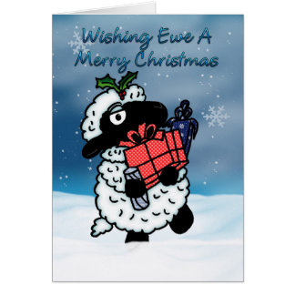 Christmas Card With Sheep - Wishing Ewe A Merry Ch