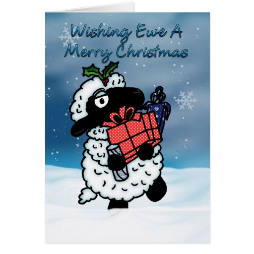 Christmas Card With Sheep - Wishing Ewe A Merry Ch
